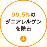 99.5%のダニアレルゲンを除去